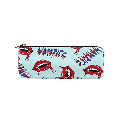 (Students Pencil Case Halloween Vampire Lips Pen Bag Zipper Pouch)