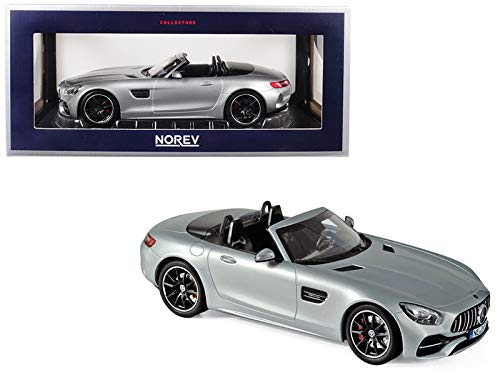 2017 Mercedes AMG GT C Roadster Silver Metallic 1/18 Diecast Model Car by Norev 183453