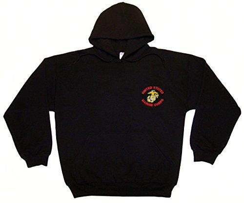 Spiffy Custom Gifts U.S. Marine Corps Embroidered Hoodie Sweatshirt Large Black