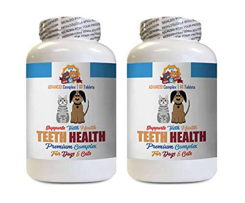 Dog Teeth Cleaning kit - Pets Premium Teeth Health for Dogs and Cats - Oral Gum Teeth Complex Support - Vitamin d for Dogs - 120 Tablets (2 Bottles)
