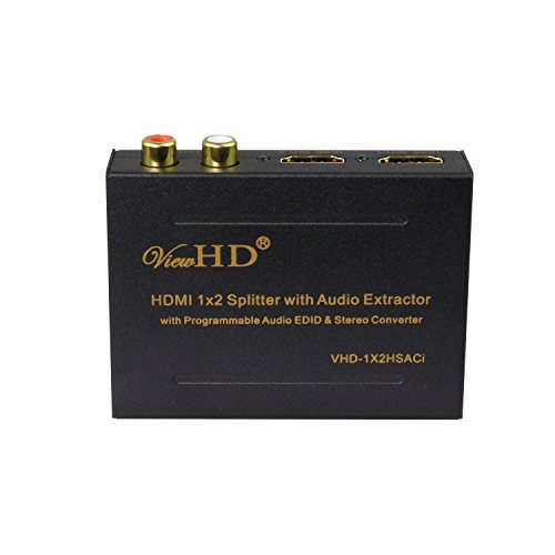 ViewHD 1x2 HDMI Splitter with Integrated Audio Extractor with Optical and RCA L/R Stereo Outputs | VHD-1X2HSACi cover