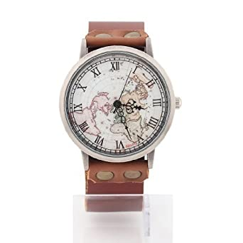 Amazon mens womens world map watch unisex fashion classic mens womens world map watch unisex fashion classic brown leather strap gumiabroncs Choice Image