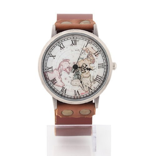 Amazon mens womens world map watch unisex fashion classic mens womens world map watch unisex fashion classic brown leather strap gumiabroncs Gallery