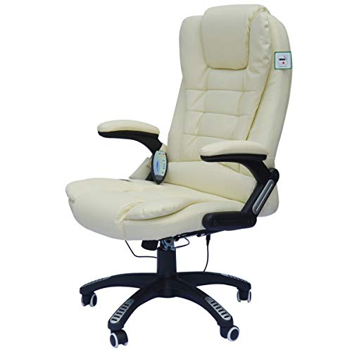 - Heated Office Massage Chair Faux Leather Home Office Computer Desk Chair with Adjustable Arms and Height - Cream White