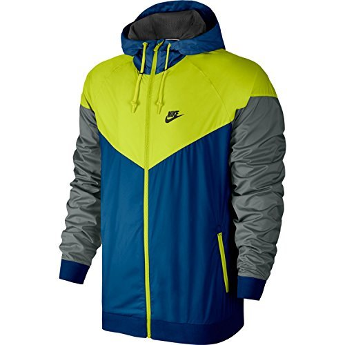 Nike Mens Windrunner Hooded Track Jacket Blue Jay/Cactus/Black 727324-433 Size Small by Nike (Image #4)