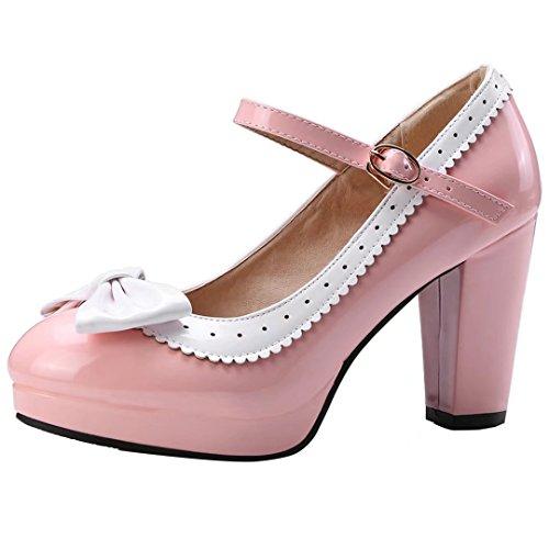 YE Damen Rockabilly Pumps Blockabsatz Plateau High Heels mit Riemchen und Schleife 9cm Absatz Elegant Schuhe Rosa
