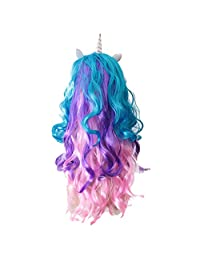 Dovewill Unicorn Magic Little Pony Unicorn Horn Long Curly Hair Wigs Carnival Party Costume Wig