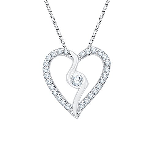 (Diamond Heart Pendant Necklace in 10K White Gold (1/6 cttw) (Color GH, Clarity I2-I3))
