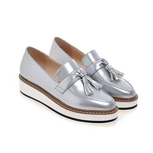 VogueZone009 Damen Rund Zehe Mittler Absatz Lackleder Rein Ziehen auf Pumps Schuhe Silber