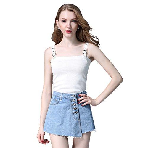 One Tree Women High Waisted Denim Shorts Skirts Frayed Raw Hem Button Loose Short Skirts