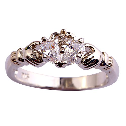 Narica Womens Simple Cute Heart Cut White Topaz Crown Cocktail Ring