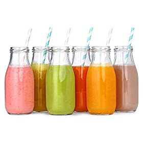 12 Pack – 11 Oz Glass Milk Bottles, 24 Metal Twist Lids and 12 Colorful Paper Straws – Reusable Vintage Dairy Bottles- Milk Bottles for Parties, Weddings, BBQ, Picnics.