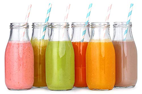 Vintage Juice Glass - 12 Pack - 11 Oz Glass Milk Bottles, 24 Metal Twist Lids and 12 Colorful Paper Straws - Reusable Vintage Dairy Bottles- Milk Bottles for Parties, Weddings, BBQ, Picnics.