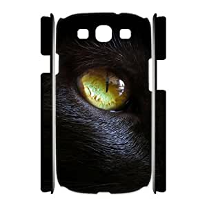 Customized Durable Case for Samsung Galaxy S3 I9300 3D, Black Cat Phone Case - HL-R636708
