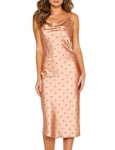 Women Silk Satin Sleeveless Camisole Dress Sexy Satin Dot V Neck Cold Shoulder Backless Slim Chemise Nightdress (Silk Dot Dress)