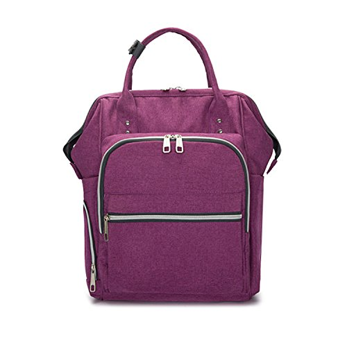 Price comparison product image NOTAG Diaper Bag Backpack for Mom Multi-Function Travel Nappy Bag with Stroller Straps Large Capacity Diaper Tote Bag with Insulated Pockets for Baby Care (Purple)