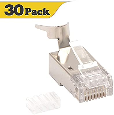 RJ45 Modular Plug Cat6 Cat6a Cat7 Solid//Stranded Shielded 22AWG-26AWG 100 pack