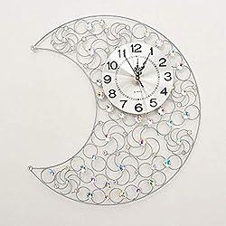 HONGLIAN Moon Crystal Drill Wrought Iron Wall Clock Living Room Clock Mute Wall Clock Quartz Clock Wall Clock (Color : Brushed Aluminum Plate Silver)
