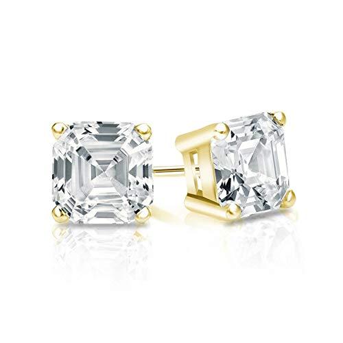 Tw Asscher Cut Earrings - bbamjewelry Certified 1 CT. TW. 4-Prong Basket Asscher Cut Real Moissanite Stud Earrings In Solid 14K Yellow Gold