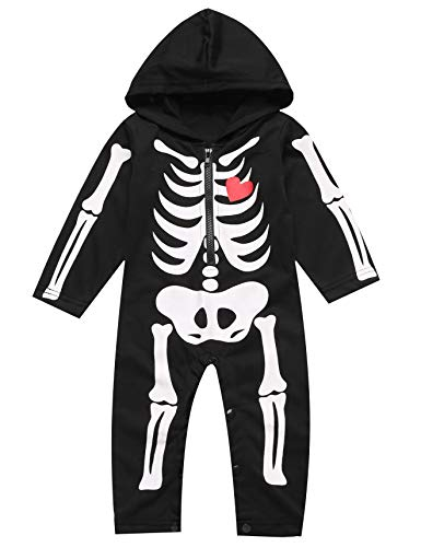 Little Fancy Baby Boy Girl Halloween Romper Long Sleeve Romper Skull Bone Costume Outfits Clothes (3-6 Months) -