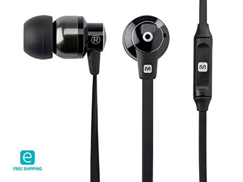 Monoprice Essentials Hi-Fi Reflective Sound Technology Earbuds Headphones Microphone-Black/Carbonite
