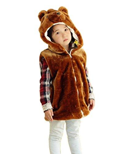 JOYHY Unisex Kids Animal Vest Hooded Cosplay Costume Brown Bear