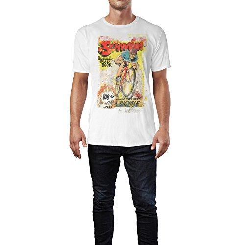 SINUS ART® Schwinn Bicycle Herren T-Shirts stilvolles weißes Fun Shirt mit tollen Aufdruck