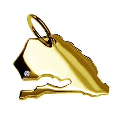 Du sénégal, avec un pendentif brillant 0,015ct sur votre wunschort en or jaune 585