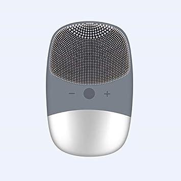 Vibrando Limpieza del Aura cepillo de silicona Electroacústica Limpiador Facial impermeable masaje facial removedor de la espinilla (Color : Grey)