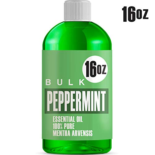 (16oz Bulk Peppermint Essential Oil (GIANT 16 OUNCE BOTTLE - THERAPEUTIC GRADE PEPPERMINT OIL) Perfect For Aromatherapy Diffusers, Help Repel Mice & Rats, Candle Making, Soap Making, Lotions, Body Wash)