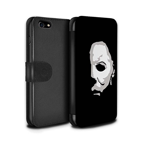 STUFF4 PU Leather Wallet Flip Case/Cover for Apple iPhone 8 / Michael Myers Inspired Art Design/Horror Movie Art -
