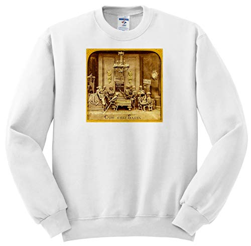 Scenes from The Past - Stereoview - 1800s French Diabolerie Vintage Stereoview Cafe Chez Satan - Sweatshirts - Adult Sweatshirt Large (ss_300255_3)