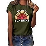 CCOOfhhc Womens Casual Tops Graphic Tees Sunshine Shirt Short Sleeve Funny T Shirts Rainbow Print Cute Summer Blouse