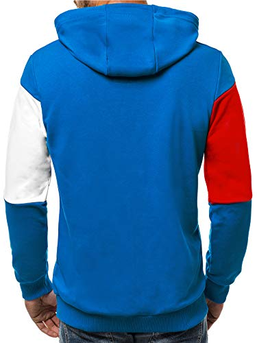Felpa Streetwear Lunghe Con Intestazione Ozonee A a Maniche Pullover 0983 Sportivo Quotidiano Cappuccio Maglia ozonee Abbigliamento Blu Sport Uomo Moderno BqZf85