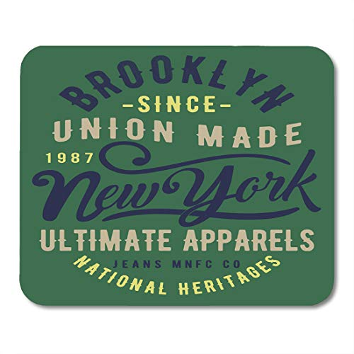 Emvency Mouse Pads Custom Athletic Vintage Varsity Badge Bronx Brooklyn College Cool Denim Mouse Pad 9.5