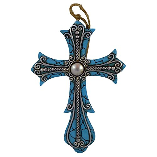 Ornament Wreath Wall Hanging (Pine Ridge Ornament Cross Turquoise with Silver Accent Hanging Home Decor - Christian Rustic Decorative Wall Cross - Religious Cross Car Charm (4