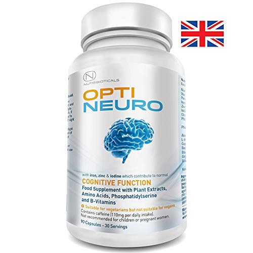 Optineuro with Pantothenic Acid contributes to Mental Performance Backed by Science | Premium Nootropic Stack with Guarana, L-Theanine, Choline, Ginseng, Bacopa, Gingko Biloba, Tyrosine, Phosphatidylserine (PS), Coenzyme Q10, B12 (Methylcobalamin) | 90 Capsules