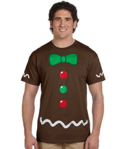 Animation Shops Christmas Costume T-Shirts (Gingerbread Man Adult, Brown, X-Large) -