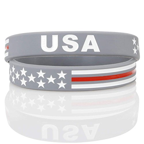 aith USA Thin Red Line American Flag Bracelet Silicone Rubber Wristbands Americanism Partriotic Spirit Sports Holiday Gifts Grey (Unisex - 2 Pcs) (Silicone Flag)