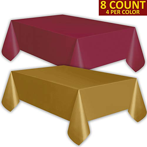 8 Plastic Tablecloths - Burgundy and Gold - Premium Thickness Disposable Table Cover, 108 x 54 Inch, 4 Each Color]()