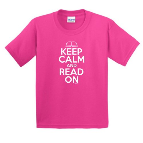 Price comparison product image Keep Calm Read On Youth T-Shirt XL Heliconia