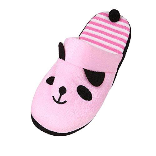 Stripe et Rose Homme Adulte Peluche et doux Chaud Chaussons Panda Femme enfant Dessin Animaux QinMM Belle PxOZAqRR