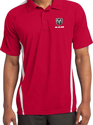 (Dodge Ram Pocket Print Micro Mesh Colorblock Polo, Red White Large)