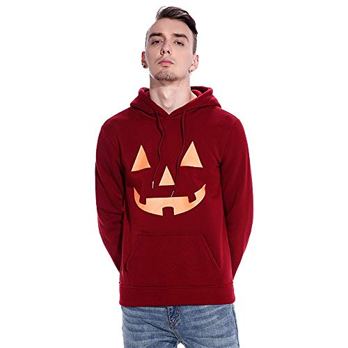 Halloween Costumes for Men,WUAI Clearance Hoodie Sweatshirts Fashion Pumpkin Print Slim Fit Casual Outdoors Tops(Red,US Size XS = Tag -