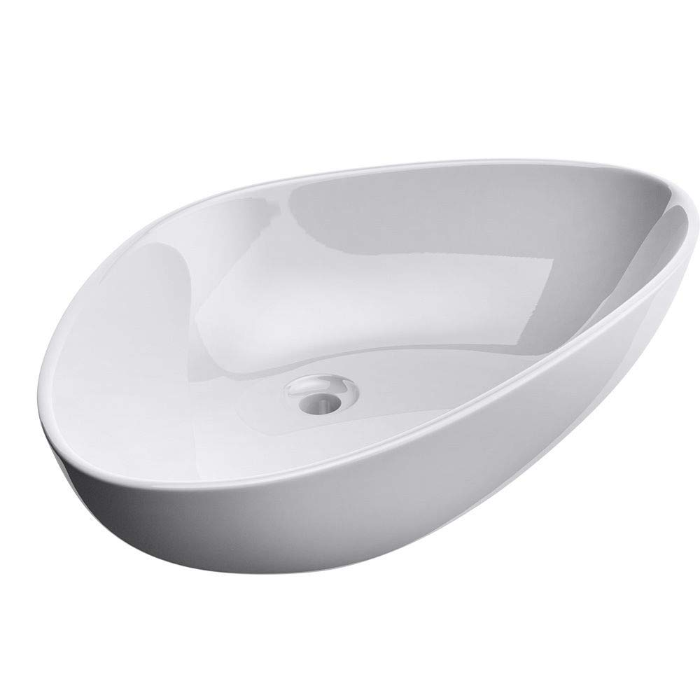 Durovin Bathrooms Ceramic Wash Basin | Counter Top Mounted Vessel Sink | Curved Triangle Washing Bowl