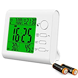 Indoor Thermometer Hygrometer Clock Digital Temperature and Humidity Gauge Monitor with Large LCD Display/ Two Alarm Clocks /Calendar /Foldout Stand (White, Battery Included)