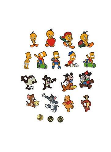 (Pins 6 Pcs Lot Fan Character Tasmania Looney Tunes, Winnie Pooh, Simpsons, Mickey, Piolin, Tom & Jerry)