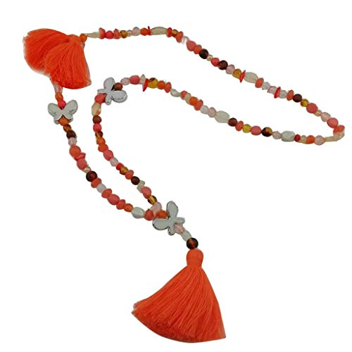 SMALLE ◕‿◕ Bohemian Chain Necklace, Long Chain Tassel Necklace Handmade Natural Pearl Crystal Pendant Jewelry for Women Orange
