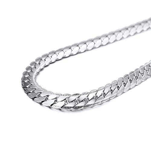 Stainless Steel Cuban Link Chain Necklace for Men Jewerly Snake Chain Silver Color ()