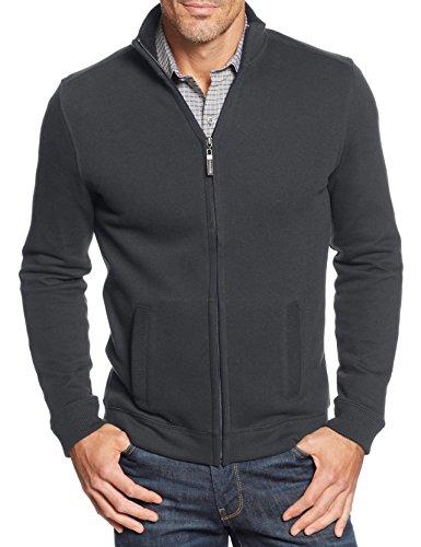Tasso Elba Big and Tall French-Rib Full-Zip Sweater (Medium, Grays)